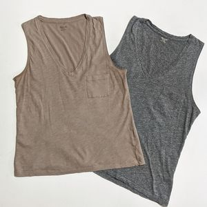 Madewell Whisper Cotton V-Neck Pocket Tanks XS